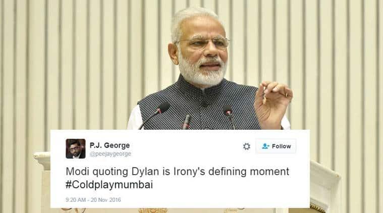 Coldplay, Narendra Modi, Bob Dylan, Modi dylan, Modi dylan quote, Coldplay Mumbai, Coldplay mumbai news, coldplay mumbai concert, coldplay concert, coldplay concert mumbai, mumbai news, india news