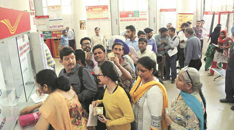 Demonetisation, Demonetisation of 500 and 1000 notes, rs 500 and 1000 note ban, note ban, currnecy ban, currency Demonetisation, chandigarh post office, chandigarh news, india news