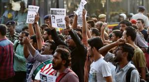 JNUSU members protest against suspension from varsity panels