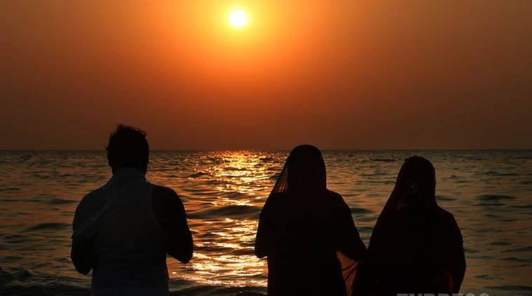 Chhath Puja is performed in order to thank Surya for sustaining life on earth and to request the granting of certain wishes. On the occasion of 'Chhat puja', married women observe fast for nearly 36 hours. (Source: Express Photo by Amit Chakravarty)