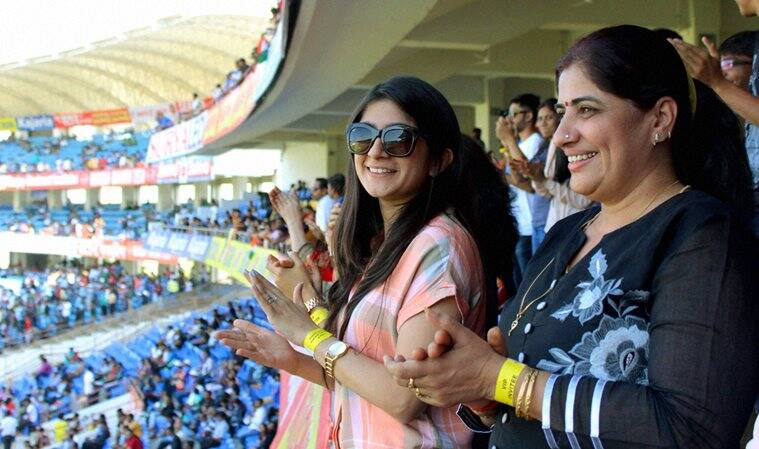 Cheteshwar Pujara's wife enjoys proceedings from the stands. (Source: PTI)