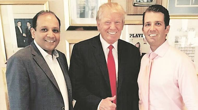 US President-elect Donald Trump and his son Donald Trump Jr with Sagar Chordia, director of Panchshil Group.