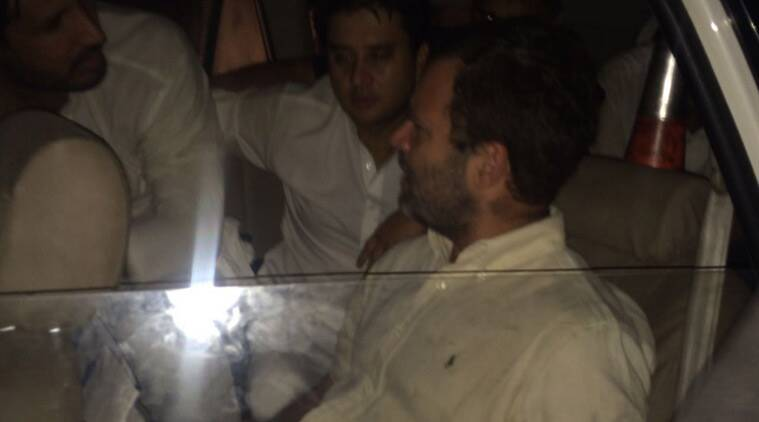 Rahul Gandhi, along with Congress leader Jyotiram Scindia in the Delhi Police van. (Source: Twitter/@INCIndia)