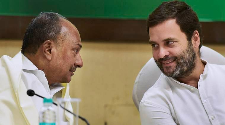 New Delhi: Congress vice-president Rahul Gandhi talks with party leader A K Antony while chairing a meeting of the Congress Working Committee (CWC) meeting in New Delhi on Monday. PTI Photo by Kamal Kishore (PTI11_7_2016_000085A)