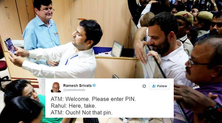 Rahul Gandhi is trending on Twitter after ATM visit and