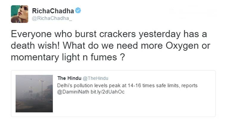 Like any responsible citizen would be, Richa Chadha was affected by the pollution after Diwali. (Source: Richa Chadha/Twitter)