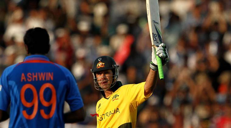 Australia's Ricky Ponting celebrate his centuary during ICC World cup quarter final match against India in Ahmedabad. *** Local Caption *** Australia's Ricky Ponting celebrate his centuary during ICC World cup quarter final match against India in Ahmedabad. Express photo by RAVI KANOJIA. Ahmedabad march 24th-2011