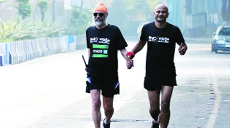 pune, pune blind man runs marathon, pune visually impaired man runs marathon, blind man marathon, pune man marathon, Amarjeet Singh Chawla. Amarjeet Singh Chawla pune, india news