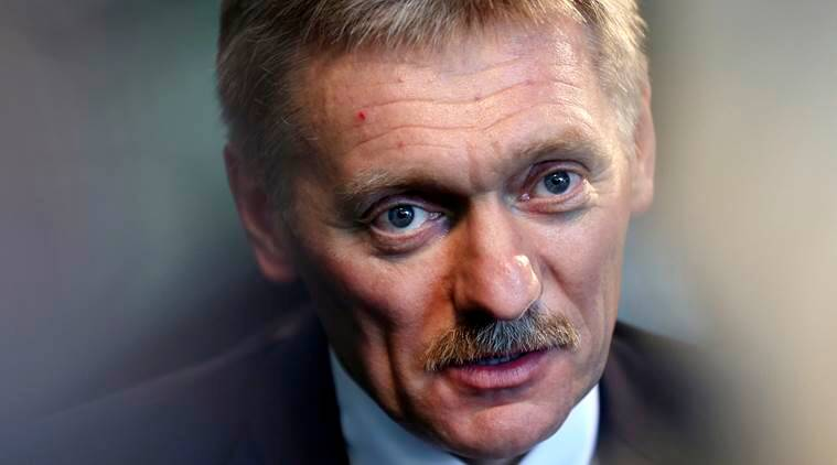 FILE - In this Thursday, Nov. 10, 2016, file photo, Kremlin press secretary Dmitry Peskov talks to a reporter in New York. Russian President Putin's spokesman Peskov said Thursday, Nov. 10, that one way President-elect Donald Trump could help build confidence with Russia after he becomes president would be to persuade NATO to slow down its expansion or withdraw its forces from Russia's borders. (AP Photo/Seth Wenig, File)