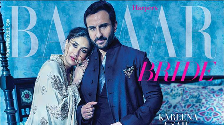 Kareena Kapoor Khan and Saif Ali Khan on the cover of Harpers Bazaar Bride India.