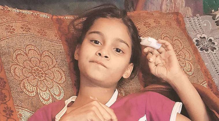 Sanjana, recuperating from injuries at her grandparents' house.