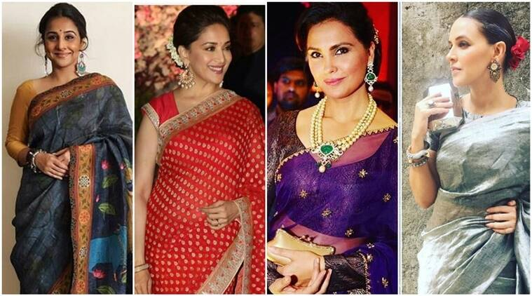 how to drape a saree, vidya balan, vidya balan kahaani 2, vidya balan in sari, madhuri dixit, madhuri dixit in sari, neha dhupia in sari, neha dhupia, anita dongre, latest fashion trends, latest sari fashion trends, sari fashion trends now, sari fashion, lara dutta, lara dutta anita dongre purple lehenga, purple, indian express, indian express news, fashion, indian express fashion