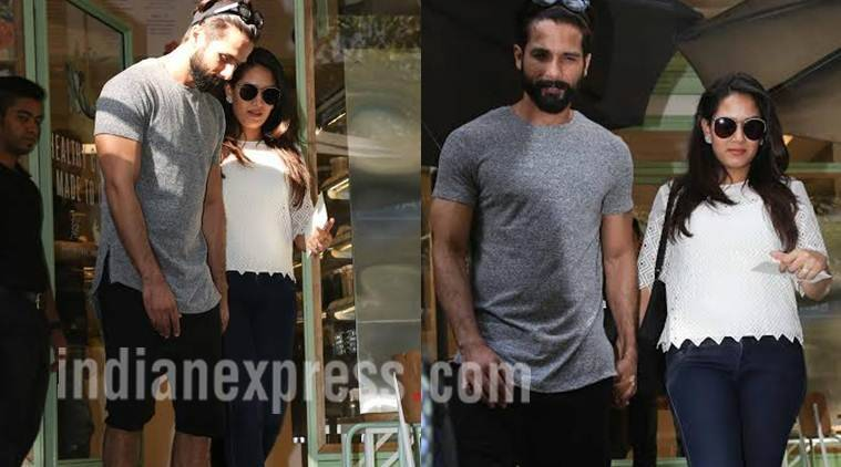 Shahid Kapoor- Mira Rajput spotted at Bandra's cafe in Mumbai. (Photo credit: Varinder Chawla)