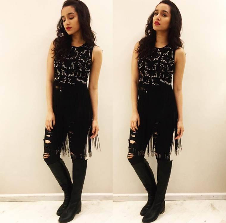 Shraddha Kapoor in n all-black look. (Source: Sanam Ratansi)
