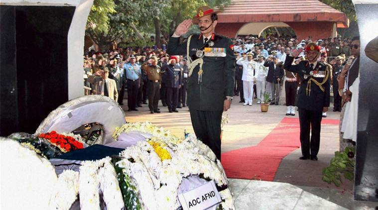 New Delhi: The Chief of Army Staff, General Dalbir Singh paying homage on the mortal remains of Lt. Gen. S.K. Sinha (Retired), in New Delhi on Friday. PTI Photo(PTI11_18_2016_000253B)