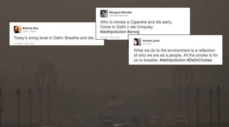 Pollution leves in the capital New Delhi rose alarmingly on wednesday. Express Photo by Tashi Tobgyal New Delhi 021116