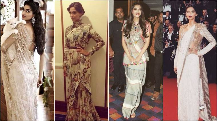 From heavy Kanheevaram sarees to Khadi cotton sarees, Sonam Kapoor has flaunted many fabrics and drapping style and has nailed it every time.(Source: Rhea Kapoor, Sonam Kapoor/ Instagram)
