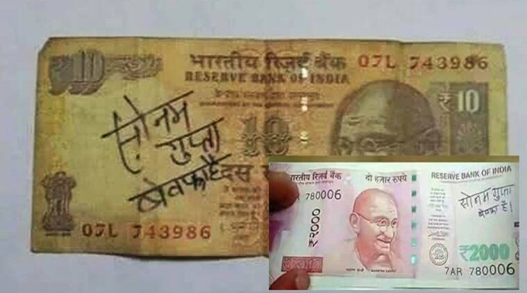 demonetisation, rs 2000, rs 500 rs 1000, rs 2000 demonetisation, sonam gupta, #sonamgupta bewafa hai, #sonamgupta, sonamgupta funny notes Twitter, indian express, indian express news, indian express trending