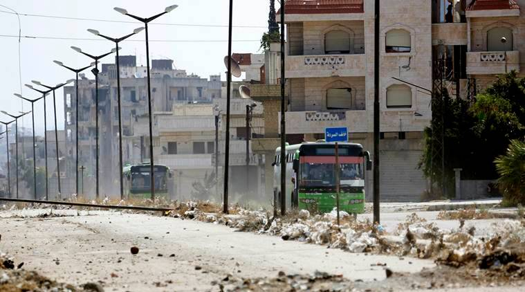 The Syrian government has forced thousands of insurgents and their families to relocate to the northern Idlib province as part of truce deals, a move that rebels suspect is aimed at gathering them far from the capital where they can later be eliminated. (AP Photo, File)