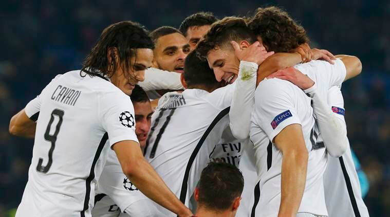 Paris St Germain's Thomas Meunier and team mates react after scoring second goal against Basel  REUTERS/Arnd Wiegmann