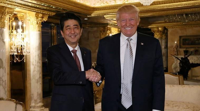 Abe-Trump, Abe-Trump meet, Japanese president, Japan-US, Japan-US trade, US president Donald Trump, trump, trump meets japan president, trump meets Abe, world news, indian express news