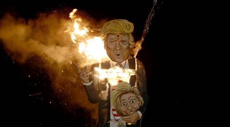 Donald Trump, Trump, Trump effigy burned, UK Bonfire night, US presidential elections, US news, world news, indian express