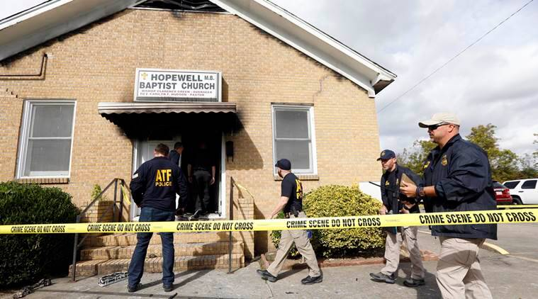 Mississippi, Mississippi church, US church burnt, Church vandalised, vote Trump, spray paint, US elections, US presidential elections 2016, world news, indian express