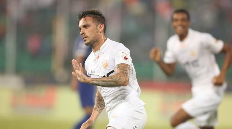 Nicolas Velez of NorthEast United FC scores a goal during match 49 of the Indian Super League (ISL) season 3 between Chennaiyin FC and NorthEast United FC held at the Jawaharlal Nehru Stadium in Chennai, India on the 26th November 2016. Photo by Luke Walker / ISL / SPORTZPICS