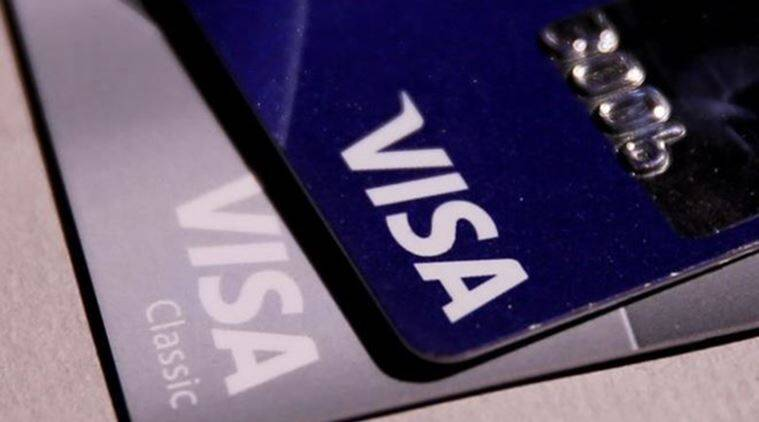 View shows Visa credit cards