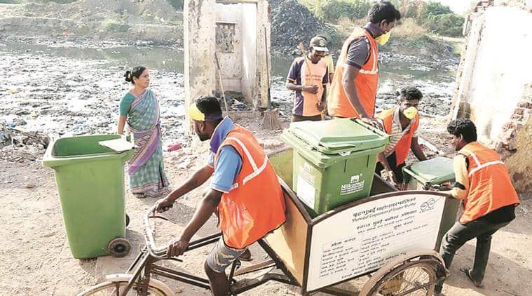 waste segregation, waste management, mumbai waste management, BMC, mumbai slums, BMC tricycles, indian express news, india news, mumbai news