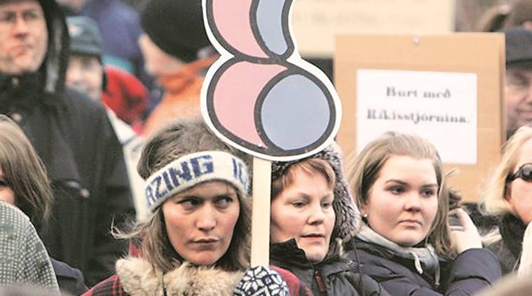 On October 24, thousands of Icelandic women left work at 2.38 pm to protest disparity in pay. Reuters