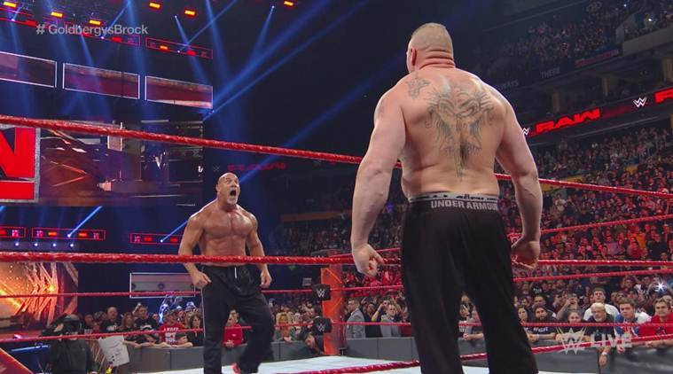 Wwe Raw Goldberg Brock Lesnar Almost Come To Blows Before
