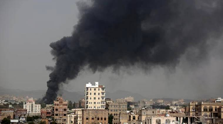 An air strike by the Saudi-led coalition on a primary school in rebel-held northern Yemen today killed five people including two children, medical and military sources said.