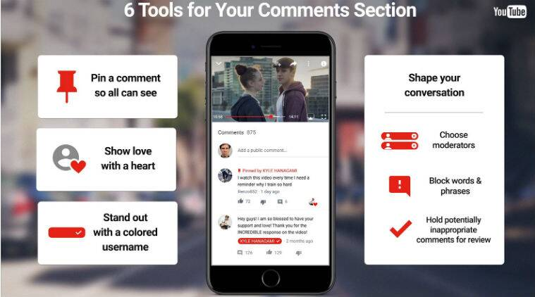 Youtube, Youtube comments section, Youtube comments new features, Youtube pin comments, Youtube comment hearts, moderate comments on channels, Youtube channels, social media, technology, technology news