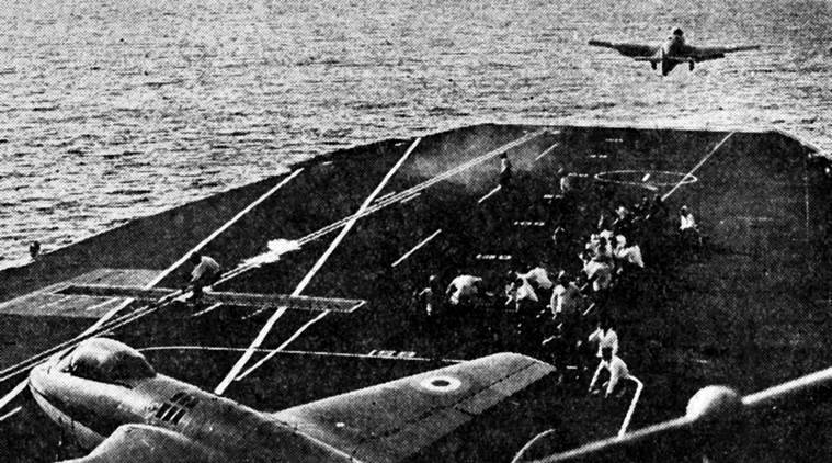 A Sea Hawk jet fighter taking off from the deck of INS Vikrant to pound Military installations in enemy held ports of Bangladesh during Indo-Pak 1971 war. Express archive photo on 14.09.1971