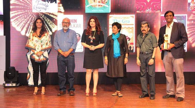 L to R. The winners of Raymond Crossword Book Award - Payal Gidwani, Akshaya Mukul, Twinkle Khanna, Roopa Pai, Ranjit Lal and Radhakrishnan Pillai. (Source: Crossword Bookstores/ Facebook)