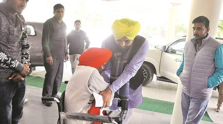 AAP MP Bhagwant Mann receives Bant Singh Jhabbar at UT guest house in Chandigarh  where Arvind Kejriwal stayed on Tuesday and held meetings with party leaders. Sahil Walia