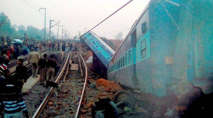 Rescue and relief work in progress at the site of accident where Sealdah Ajmer Express train derailed early morning near Rura railway station in Kanpur dehat district on Wednesday (PTI Photo)