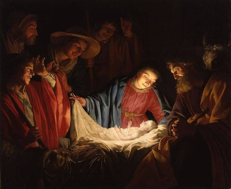 Adoration of the shepherds by Gerard van Honthorst depicts the nativity of Jesus. (Source: Wikimedia Commons)