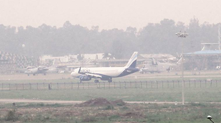 Chandigarh, chandigarh airport, chandigarh weather, fog, poor visibility, upgraded landing, flight landing, flight updates, chandigarh news, indian express news