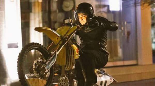 Ajith performs a bike stunt