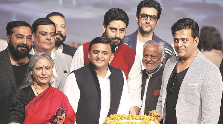 Akhilesh Yadav with SP MP Jaya Bachchan, actors Abhishek Bachchan, Kunal Kapoor, Ravi Kishan and director Anurag Kashyap at the inauguration of the Film, Television and Liberal Arts Institute. Vishal Srivastav