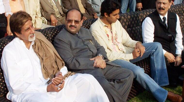 Subroto Roy with Amitabh bachchan, Amar Singh and Abhishek bachchan in Lucknow. Express Archive photo