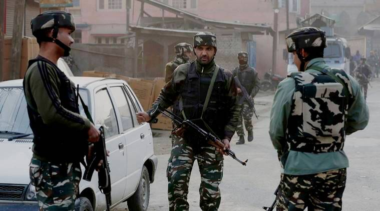 Army soldiers arrive at the site of militant attack on their convoy in Kadlbal area of Pampore in south of Srinagarin  17 December 2016. Three soldiers were killed and two were injured after suspected militants ambushed a convoy of the Indian Army and attacked it at Srinagar-Jammu National Highway 1-A in Pampore. Express photo by Shuaib Masoodi