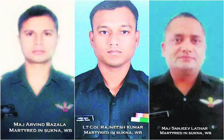 Army helicopter crash, army men killed, army officers death, junior commissioned officer, Cheetah helicopter crash, helicopter crash, Sukna military station, West Bengal, india news, indian express news