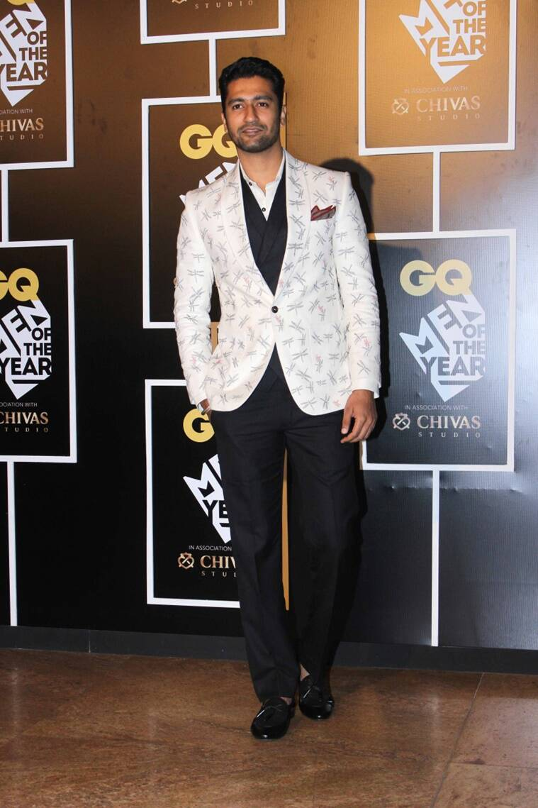 Vicky Kaushal in a quirky dragon fly printed jacket by Gaurav Khanijo. (Source: Varinder Chawla)