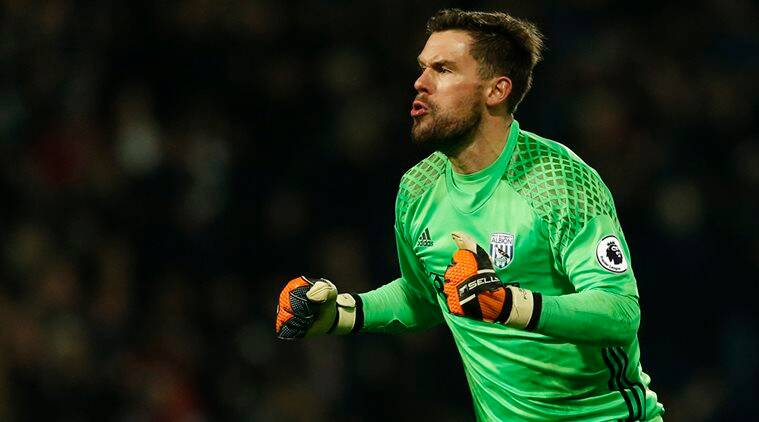 West Brom's Ben Foster celebrates their first goal