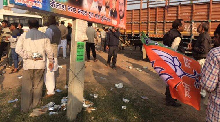 BJP youth workers, BJP rally workers, BJP workers littering venue, workers littering venue BJP, BJP, Swachh Bharat Mission, Ludhiana, India news, Indian Express
