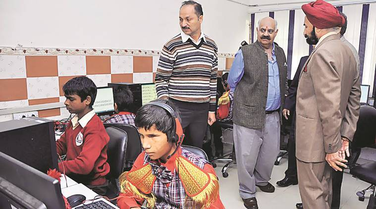 Chandigarh Administrator V P Singh Badnore (right) and others at the Institute for Blind in Sector 26, Chandigarh, on Wednesday.  Sahil Walia