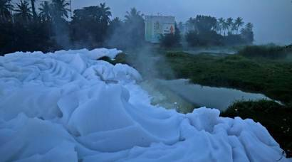 Bengaluru: Toxic froth spills over from lakes to state highway